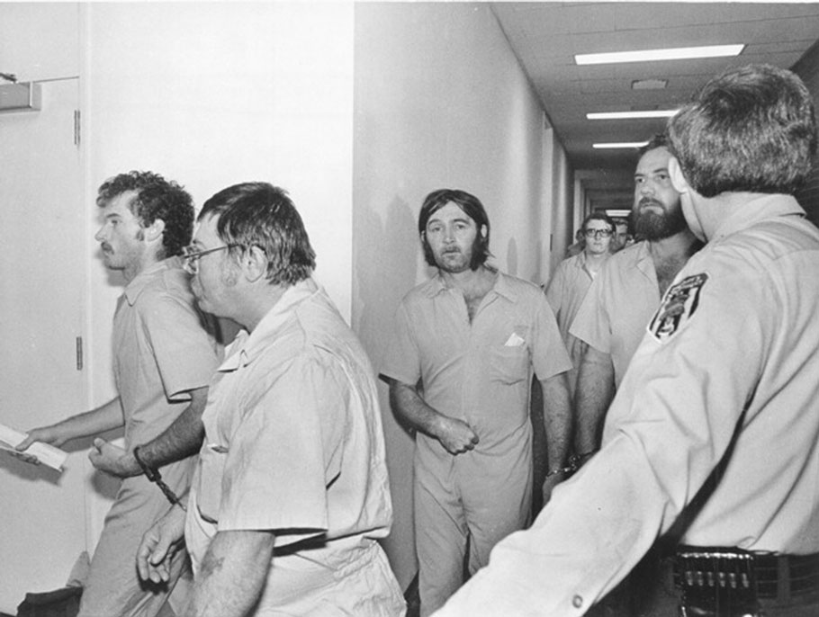 A group of the Klansmen and Nazis who faced murder charges for the Greensboro shooting, photographed before an arraignment hearing in 1979.