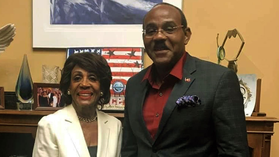 From left, Chair of the House Committee on Financial Affairs, Maxine Waters and Antigua and Barbuda Prime Minister, Gaston Browne.