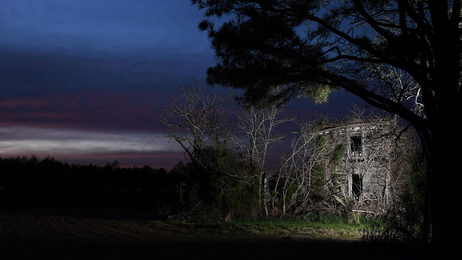 The Porter house at dusk in Southampton County, Va.
