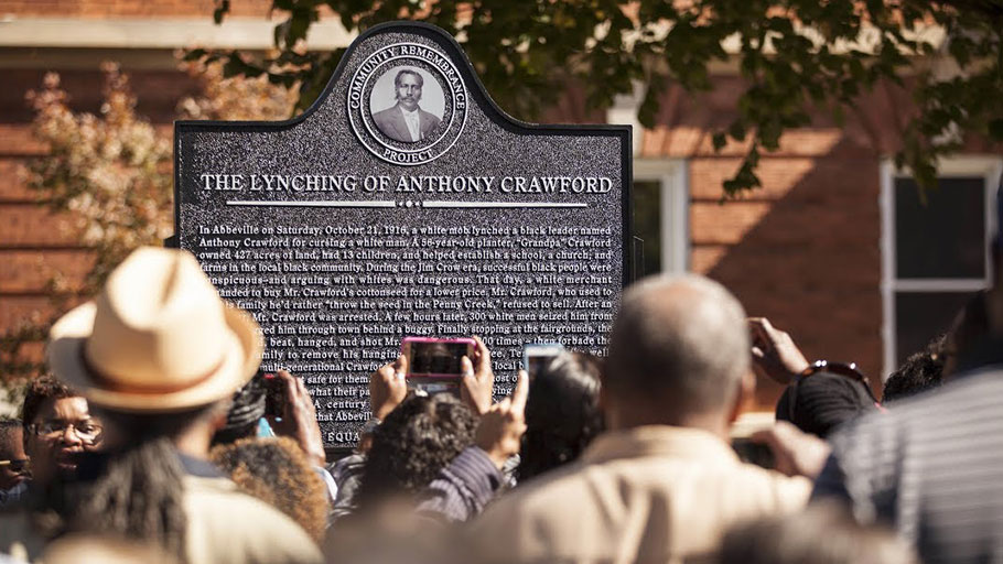 A crowd gathers in Abbeville, South Carolina, to commemorate a memorial to Anthony Crawford, a prominent Black businessman who was killed by a lynch mob in 1916.