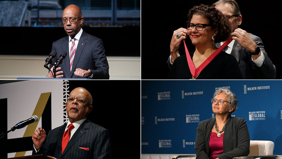 Clockwise from top left: Michael Drake, president of Ohio State University; Elizabeth Alexander, president of the Mellon Foundation; Cecilia Conrad, a managing director at the MacArthur Foundation; and Henry Louis Gates Jr., a professor at Harvard.Credit...