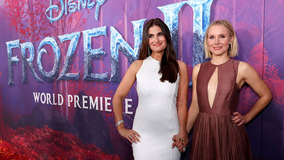 "Idina Menzel, left, and Kristen Bell at the premiere of ""Frozen II"" in Los Angeles."