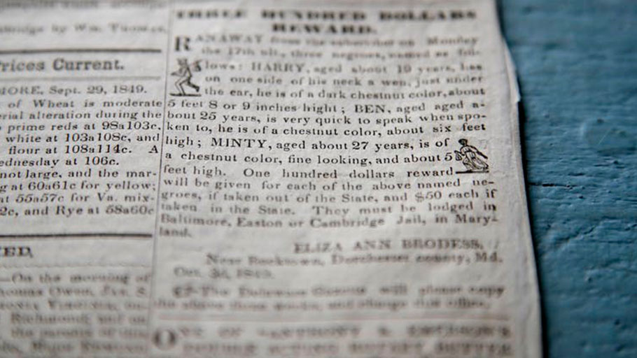 This May 12, 2017 photo shows a runaway slave newspaper notice for Harriet Tubman, who was called 'Minty' at the time.