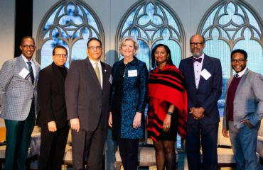 Left to right: Bishop Claude Alexander (Senior Pastor, The Park Church), David Goatley (Director of the Office of Black Church Studies, Duke University), Michael Battle (Former U.S. Ambassador to the African Union), CCCU president Shirley V. Hoogstra, CCCU Vice President for Educational Programs Kimberly Battle-Walters Denu, Bernard E. Powers Jr. (Director, Center for the Study of Slavery, College of Charleston), and Jemar Tisby (Executive Director, The Witness Foundation).