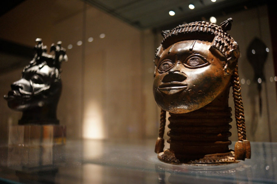 Unidentified object, likely of African origin, displayed at the British Museum in London