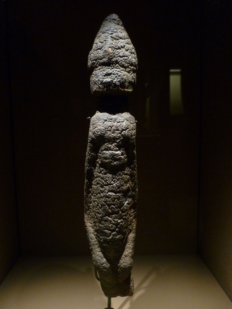 Unidentified object, likely of African origin, displayed at the Quai Branly museum in Paris