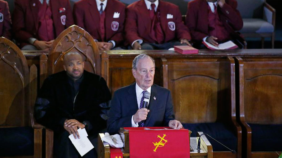Michael Bloomberg speaks at the Vernon Chapel American Methodist Episcopal Church in Tulsa, Okla.