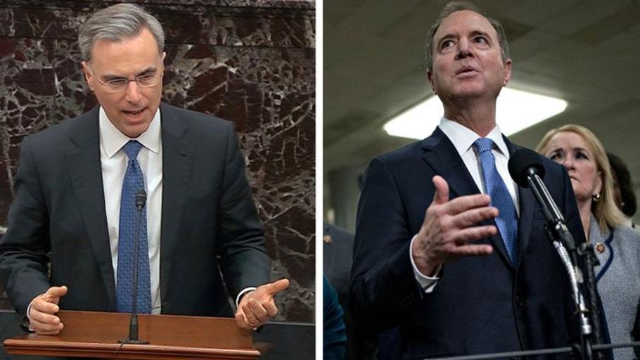 White House counsel Pat Cipollone and Representative Adam Schiff Senate Television