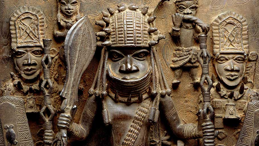 Plaque depicting warrior and attendants (16th-17th century), Edo peoples, Benin kingdom, Nigeria.