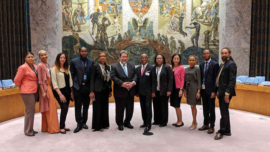 Dr. Ralph E. Gonsalves, Sir Louis Straker and staff at the Mission to the United Nations.
