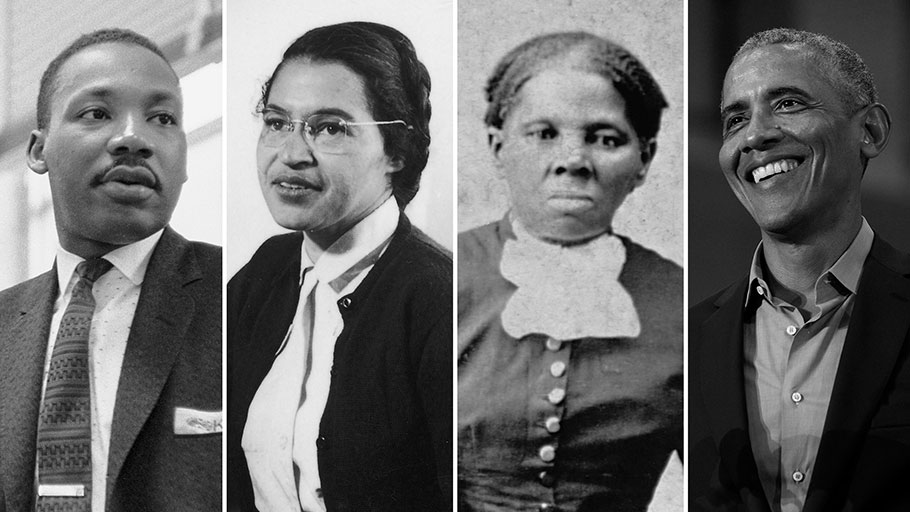 Martin Luther King Jr., Rosa Parks, Harriet Tubman and President Barack Obama