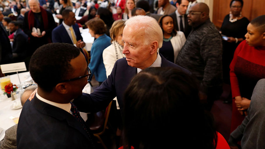 Joe Biden arrives at the Columbia Urban League annual Dr Martin Luther King Jr breakfast in West Columbia, South Carolina, 20 January 2020.