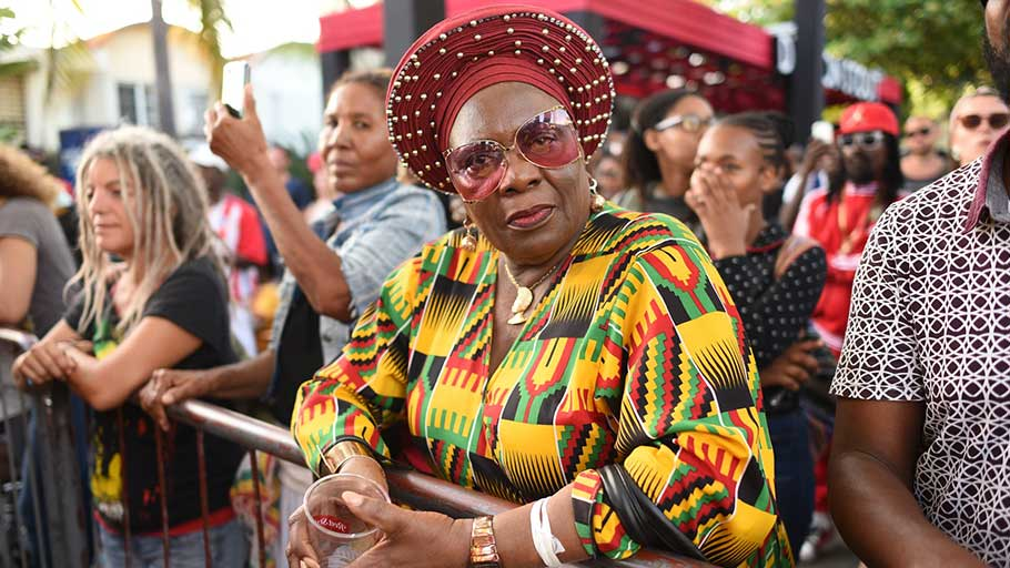 A reveller at the Marley 75 celebrations.