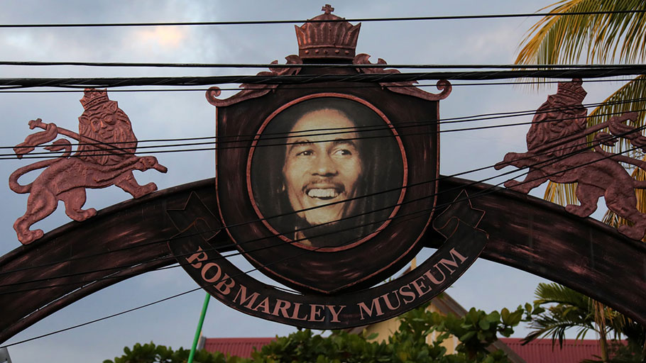 The entrance to the Bob Marley museum at 56 Hope Road, Kingston.