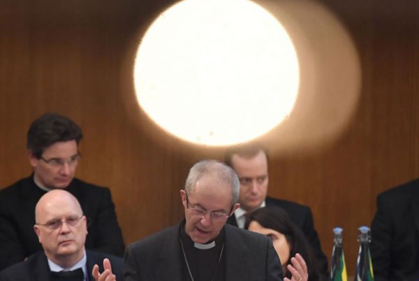The Archbishop of Canterbury, the Most Reverend Justin Welby, addresses the General Synod at Church House in London.