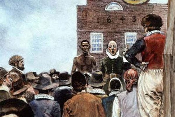 First slave auction in New Amsterdam.