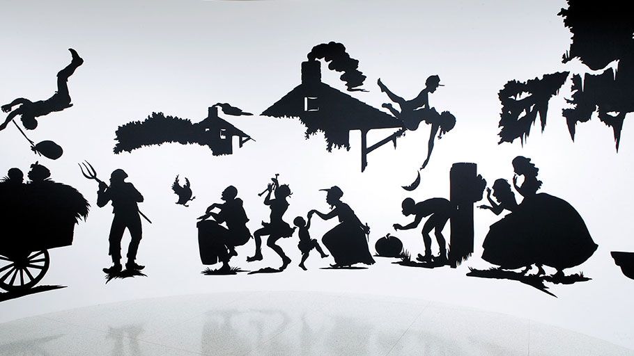 """Kara Walker: Slavery! Slavery! Presenting a GRAND and LIFELIKE Panoramic Journey into Picturesque Southern Slavery or 'Life at """"Ol' Virginny's Hole"""" (sketches from Plantation Life)' See the Peculiar Institution as never before! All cut from black paper by the able hand of Kara Elizabeth Walker, an Emancipated Negress and leader in her Cause, 1997"""