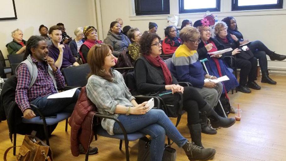 Reparations meeting spectators