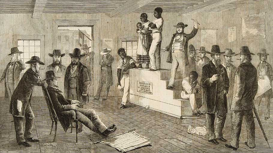 A slave auction Richmond Virginia 1861. the illustrated London news Feb 16 1861
