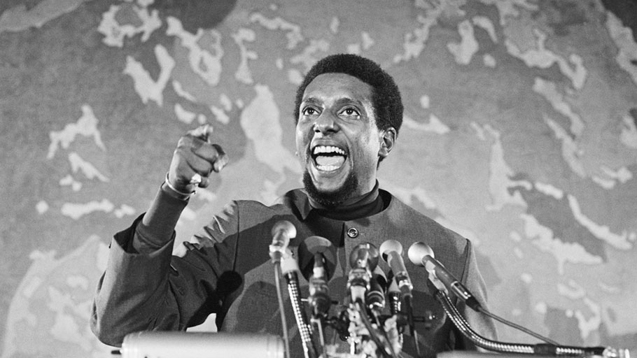 Stokely Carmichael speaking at a civil rights gathering in Washington, D.C. on April 13, 1970.
