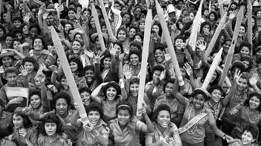 Participants in the Cuban Literacy Campaign march in December 1961.
