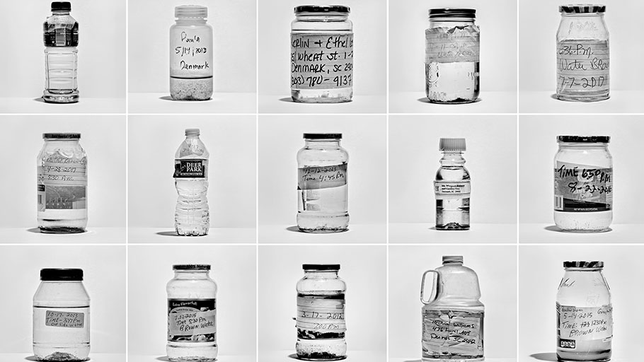 "Denmark, S.C. | Water samples collected over a decade by Eugene ""Horseman"" Smith, 74, and his wife Pauline Ray Brown, 77; the couple began collecting the water and having it tested when they started to suspect, correctly, that it was contaminated."