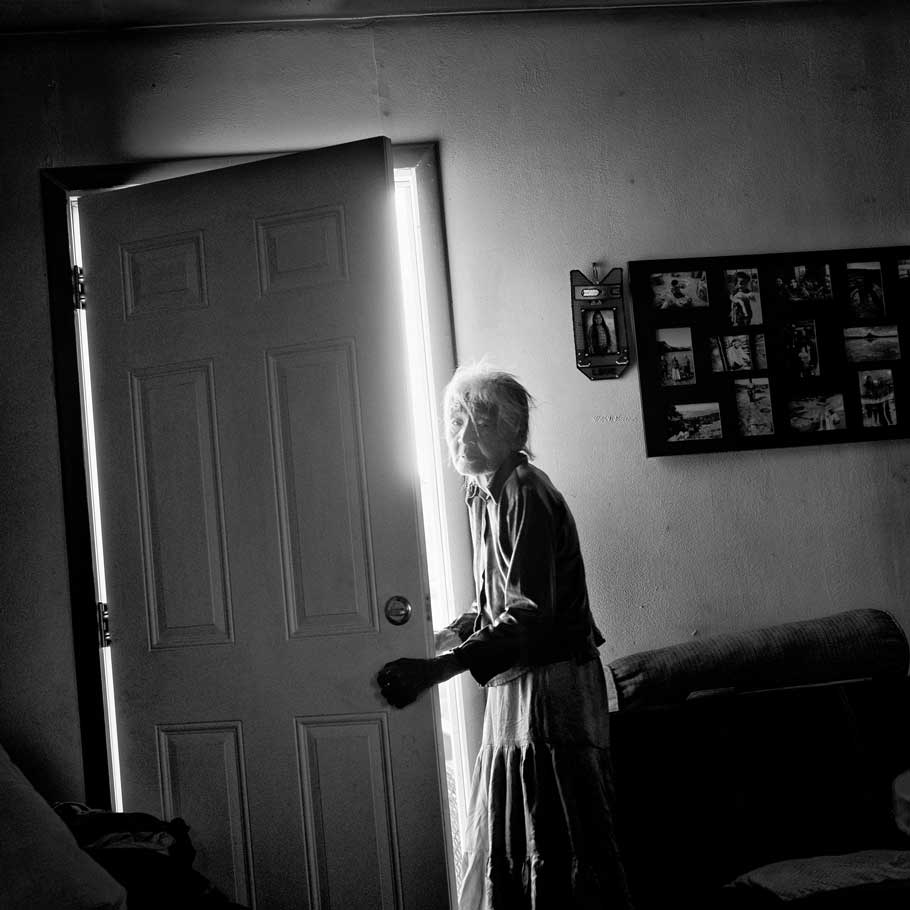 Gap, Ariz. | Nellie Yellowhorse, 90, at her family's ranch home in the Navajo Nation; she lives with her two elderly sisters in the house, which has no running water.
