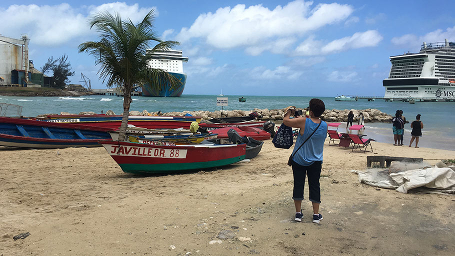 Tourists explore the cruise ship port in Ocho Rios, Jamaica, on Tuesday.