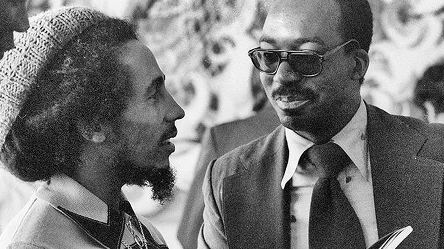 Reggae legend Bob Marley talks with James G. Spady at the United Nations in New York City on June 15, 1978.
