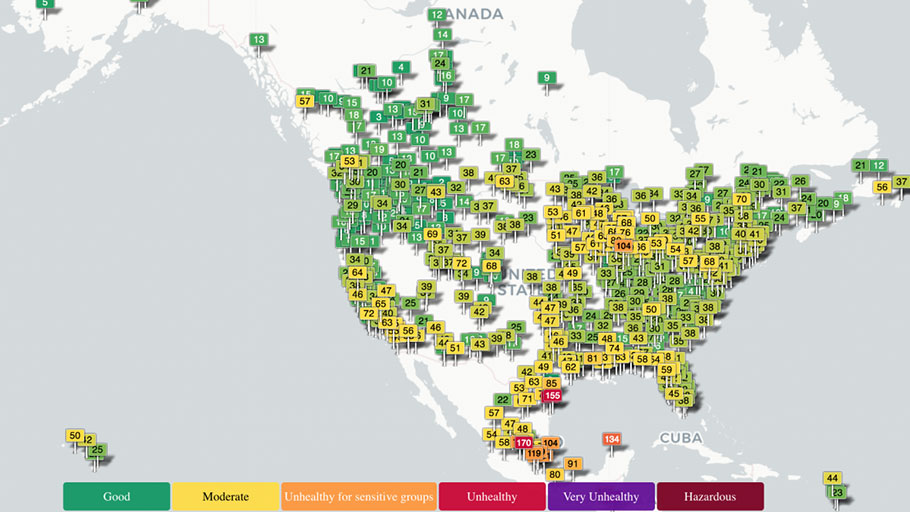 real-time air quality map