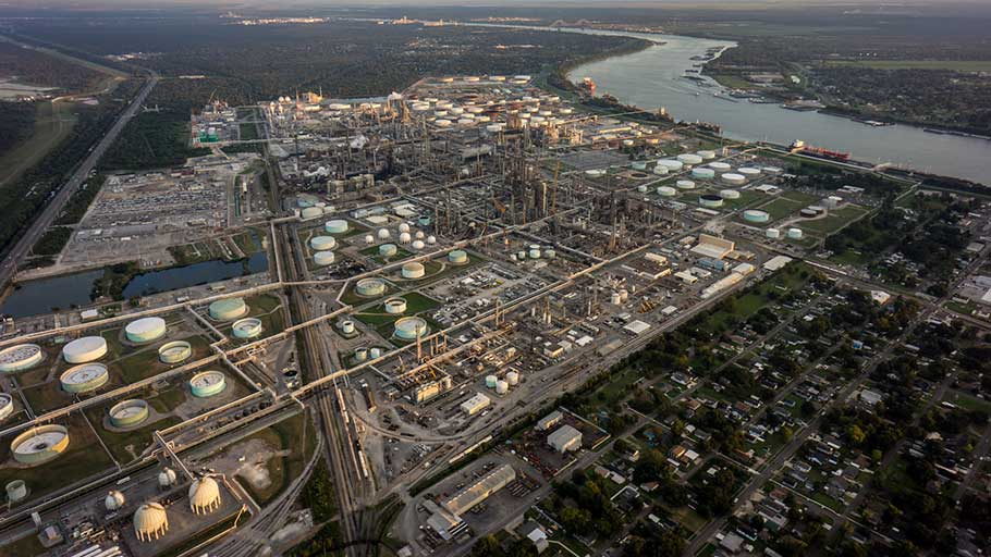 A dense concentration of oil refineries, petrochemical plants, and other chemical industries stand alongside residential homes in cancer alley.