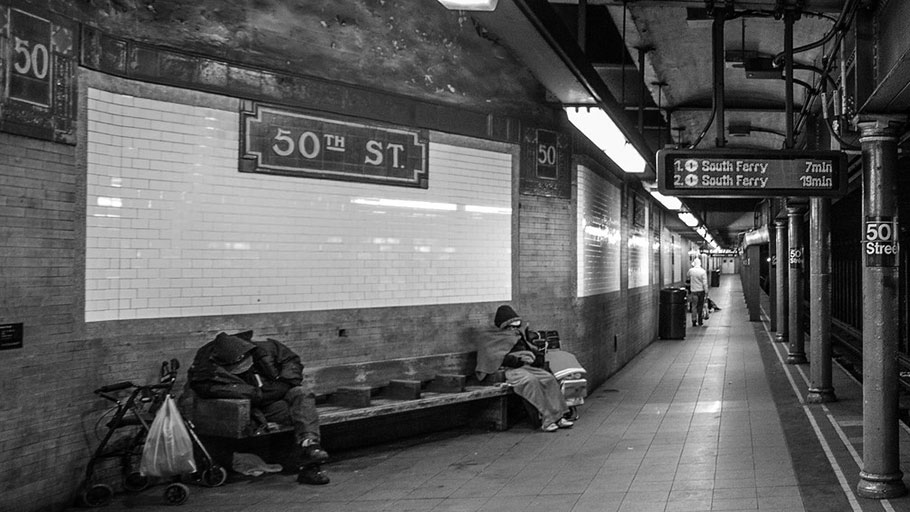 Homeless in NYC Subway