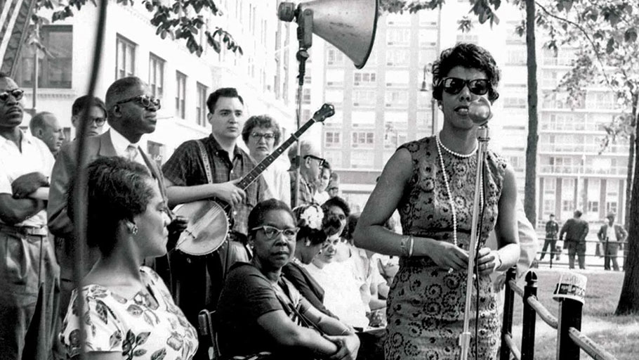 Lorraine Hansberry at an NAACP rally in New York City, 1959.