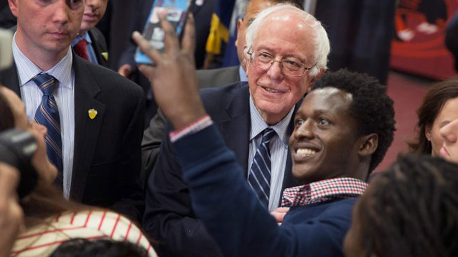 Democratic presidential candidate Sen. Bernie Sanders (D-VT) greets guests following a rally at Claflin University on February 26, 2016 in Orangeburg, South Carolina. The South Carolina Democratic primary is scheduled to take place on February 27.