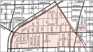By 1940, 84 percent of Evanston's black households fell within the shaded triangle, now part of the 5th Ward.