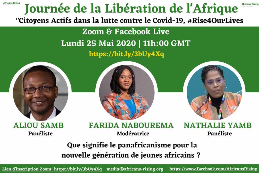 """Une discussion sur le thème """" Que signifie le panafricanisme pour la nouvelle génération de jeunes africains?"""". Rejoignez la conversation sur Zoom et Facebook Live."""