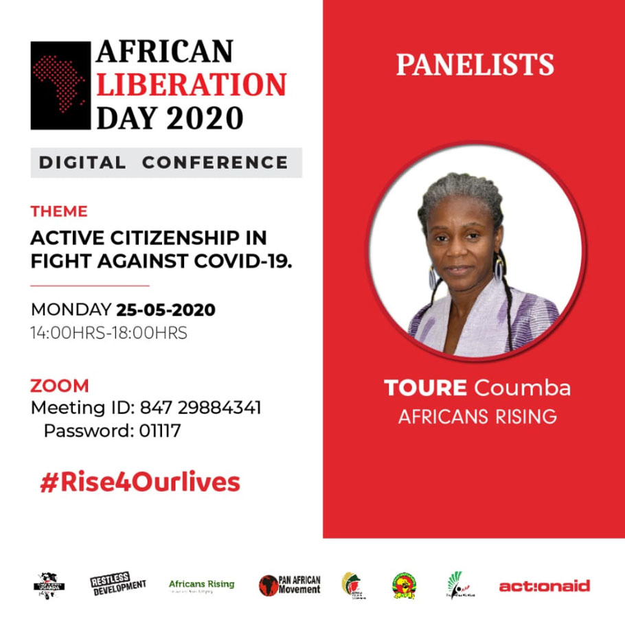 ActionAid Uganda hosts a webinar on active citizenship in the fight against #COVID19 with a panel of speakers including Africans Rising movement coordinator Coumba Toure.