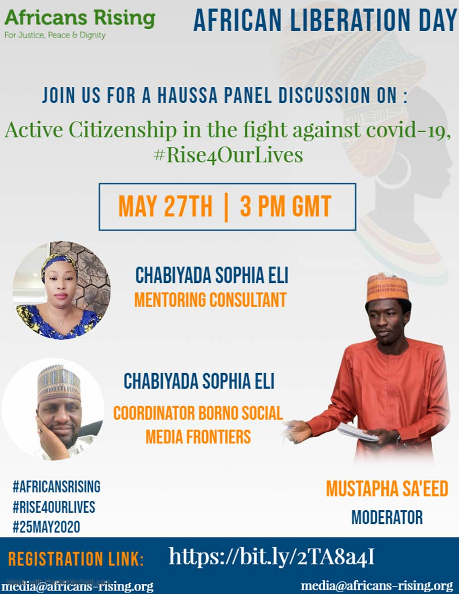 "A discussion in Haussa about the Africans Rising May 25 mobilization theme ""Active Citizenship in the Fight Against COVID-19."""