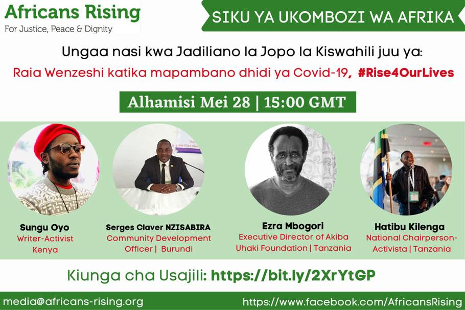 """Mazungumzo ya Kiswahili juu ya """"Raia Wenye bidii katika Mapambano dhidi ya COVID-19"""" na wanaharakati na viongozi wa jamii kutoka Kenya, Burundi, na Tanzania."""