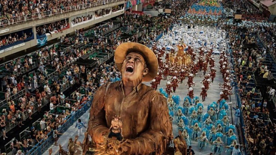 Revellers of the Portela Samba School, the champion of the 2017 Rio Carnival, perform in the Champions' Parade at the Sambadrome in Rio, Brazil, on March 5, 2017.
