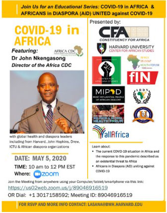 Partnership Between CFA, Harvard, John Hopkins and Other Leading Institutions and Diaspora Organizations to Work with the Africa Centers for Disease Control on the COVID-19 Response