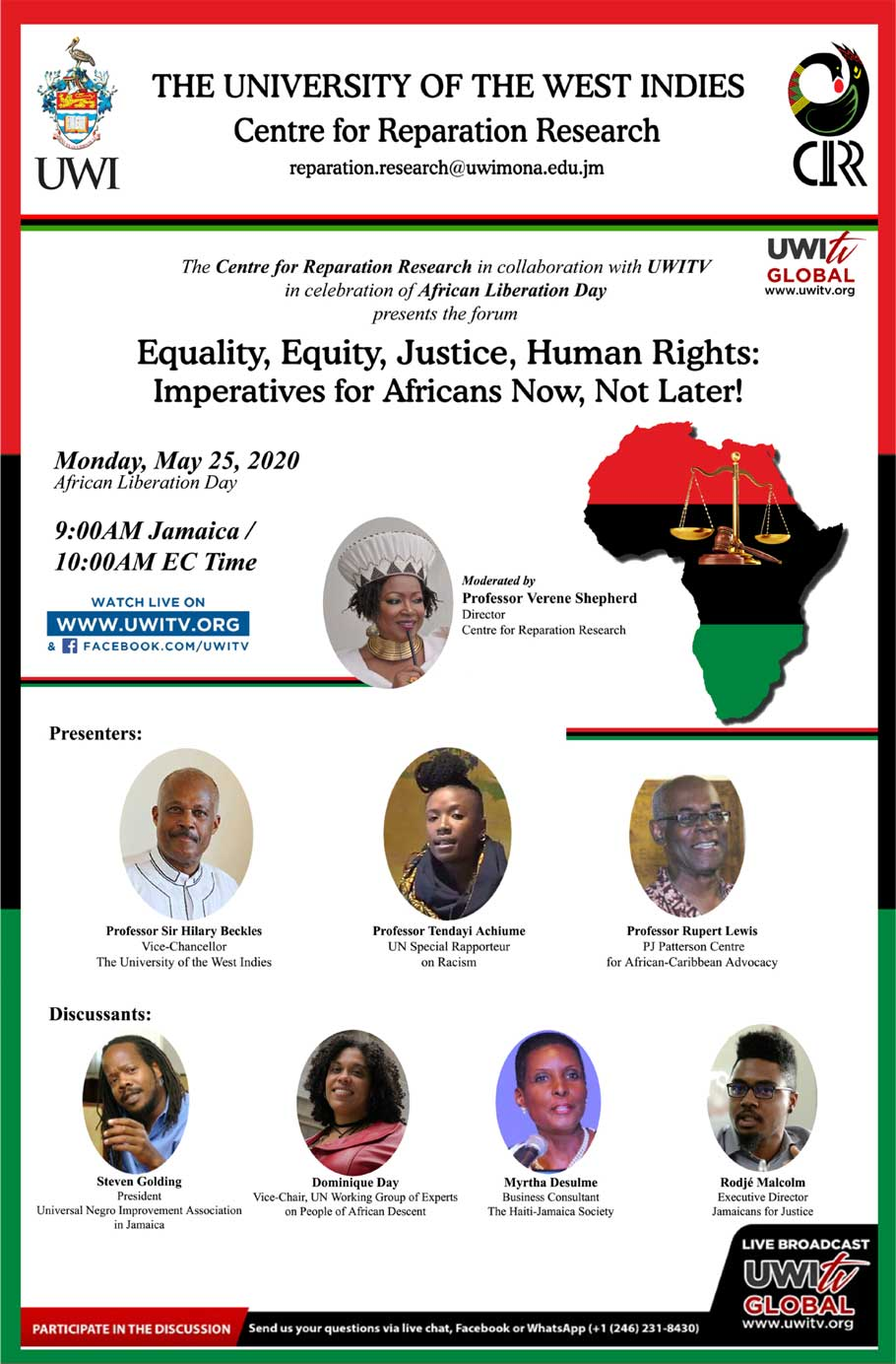 "The Centre for Reparation Research (CRR) invites you to join and participate in our second virtual seminar on Monday, May 25, 2020 in celebration of African Liberation Day entitled ""Equality, Equity, Justice, Human Rights: Imperatives for Africans Now, Not later!"""
