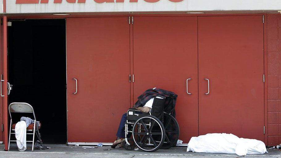 The body of Ethel Freeman, in the wheelchair, was found outside the convention center in New Orleans after Hurricane Katrina.