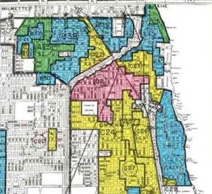"""1940 HOLC map ranking the neighborhoods of Evanston by desirability. The modern-day 5th Ward, highlighted in red, is classified as """"undesirable"""" due to a significant black population."""