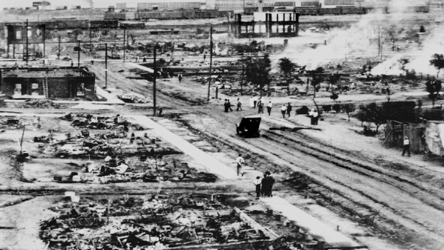 The aftermath of the 1921 Tulsa Race Massacre (Greenwood Cultural Center)
