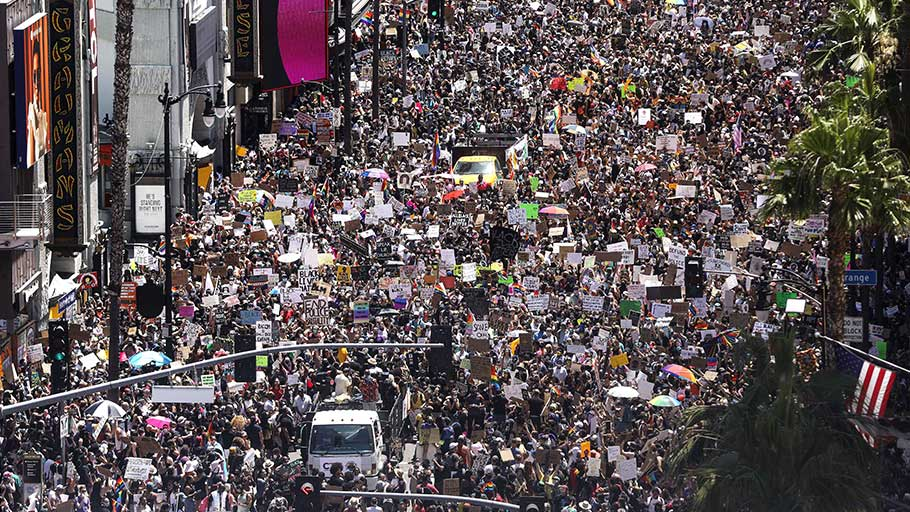 An anti-racist protest in Los Angeles on June 14, 2020. Rarely has the US seen massive, sustained, nationwide protests.