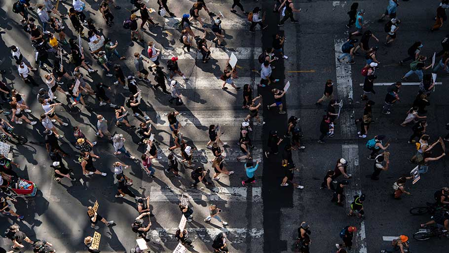 Thousands of protesters march through downtown Minneapolis on May 31. (Salwan Georges/The Washington Post)