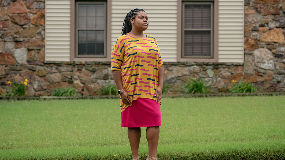 Madelyn Dancy, 28, outside her home in Memphis. (Brandon Dill for The Washington Post)