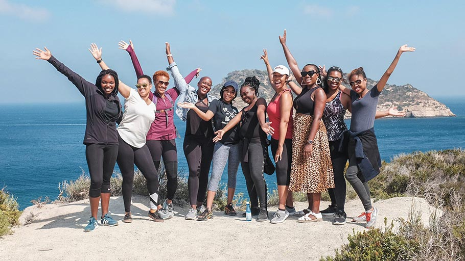 Sienna Brown, fourth from left, and other Black American expatriates during an outing near Valencia, Spain, in 2018.