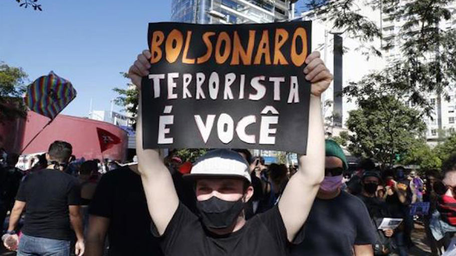 Dozens of people participate in a protest against Brazil's President Jair Bolsonaro, Sao Paulo, Brazil, June 7, 2020.